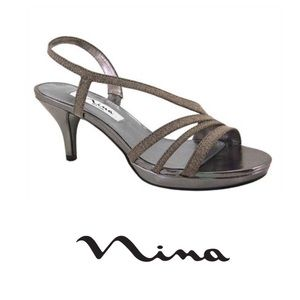 Nina Neely Charcoal Glittler Strappy Heels